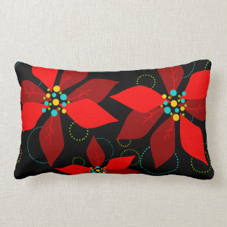 Festive Christmas Poinsettia Winter Floral Lumbar Pillow