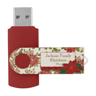 Festive Christmas Poinsettias and Holly Flash Drive