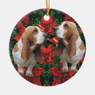 Festive Christmas Poinsettias Basset Hound Ceramic Ornament
