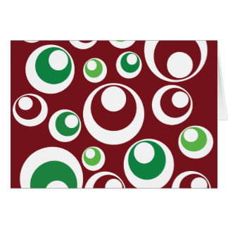 Festive Christmas Red Green Circles Dots Pattern Card