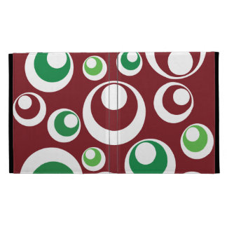 Festive Christmas Red Green Circles Dots Pattern iPad Folio Case