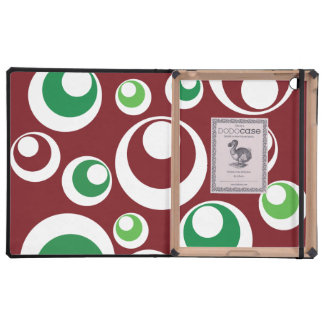 Festive Christmas Red Green Circles Dots Pattern Cases For iPad