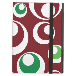 Festive Christmas Red Green Circles Dots Pattern iPad Folio Cases