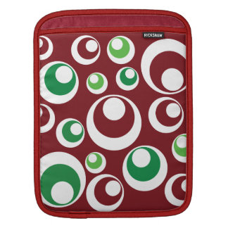 Festive Christmas Red Green Circles Dots Pattern Sleeve For iPads