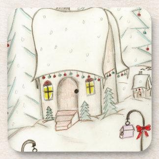 Festive Christmas Scene Beverage Coaster