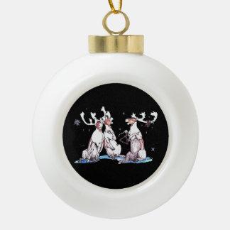 Festive Christmas Singing Caribou Wildlife Ceramic Ball Christmas Ornament