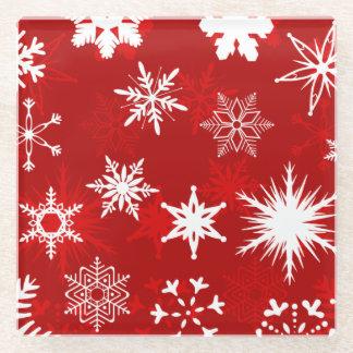 Festive Christmas snowflakes Glass Coaster