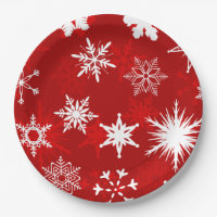 Festive Christmas snowflakes Paper Plate