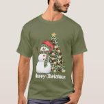 "Festive Christmas snowman tree mens t-shirt<br><div class=""desc"">design by www.etsy.com/Shop/DigitalDesigns&Art tree by Barry at www.psptubez.com</div>"