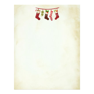 Festive Christmas Stockings Hanging in a Row Letterhead