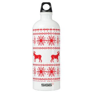 Festive Christmas Sweater Pattern Aluminum Water Bottle