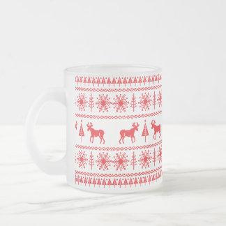 Festive Christmas Sweater Pattern Frosted Glass Coffee Mug