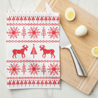 Festive Christmas Sweater Pattern Hand Towels