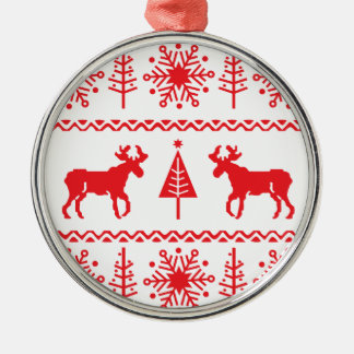 Festive Christmas Sweater Pattern Metal Ornament