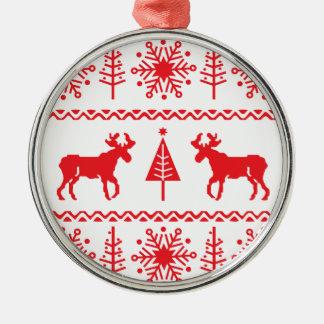 Festive Christmas Sweater Pattern Round Metal Christmas Ornament