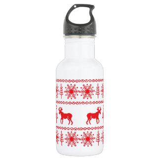 Festive Christmas Sweater Pattern Water Bottle