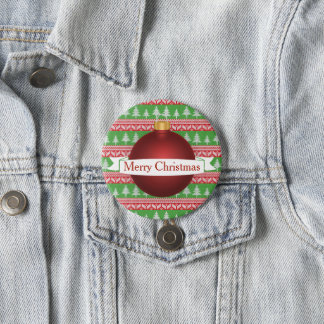 Festive Christmas Sweater Print & Red Ornament Button