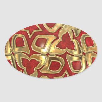 Festive Christmas theme in Red and Gold Oval Sticker