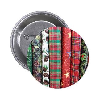 Festive Christmas Themed Fabrics Textiles Pinback Button