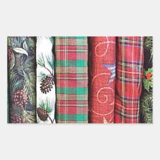 Festive Christmas Themed Fabrics Textiles Rectangular Sticker