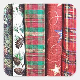 Festive Christmas Themed Fabrics Textiles Square Sticker