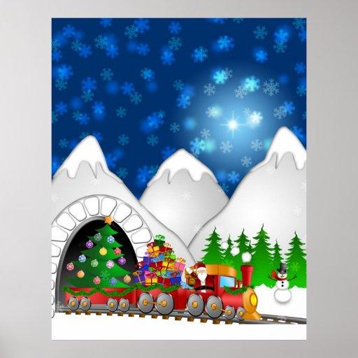 Festive Christmas Train Poster