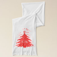 Festive Christmas Tree and Stars Monogrammed Scarf