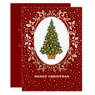 Festive Christmas Tree design Christmas Flat Cards