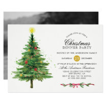 Festive Christmas Tree Holiday Dinner Party Photo Invitation