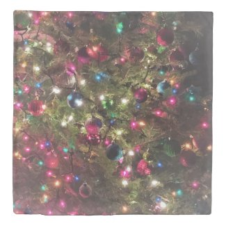 Festive Christmas Tree Lights Pattern Fun Duvet Cover