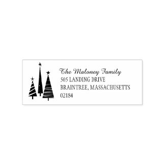 Festive Christmas Trees Return Address Rubber Stamp