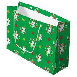 Festive Christmas unicorn pattern party bag