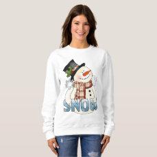 Festive Christmas word art snowman sweatshirt