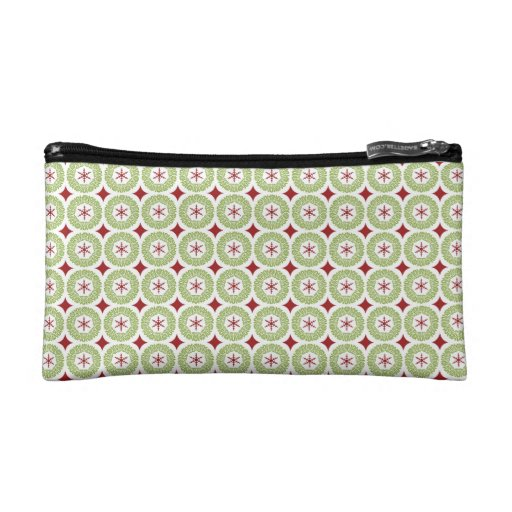 Festive Christmas Wreath and Star Pattern Cosmetic Bags