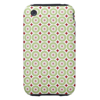Festive Christmas Wreath and Star Pattern iPhone 3 Tough Covers
