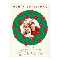 """Festive Christmas Wreath Holiday Photo Card 5"""" X 7"""" Invitation Card"""