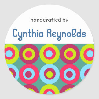 """Festive Circles """"Handcrafted By"""" Labels Classic Round Sticker"""