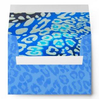 Festive Cobalt Blue Envelope lined Hot Leopard zazzle_envelope