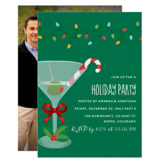 Festive cocktail themed Christmas Party photo Card