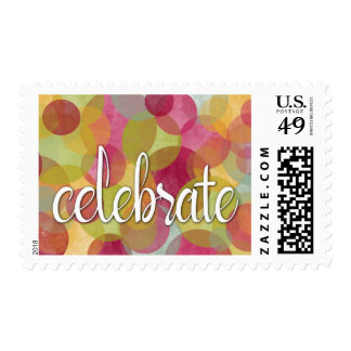 "Festive, Color Bubble-Circles with ""Celebrate"" Postage"