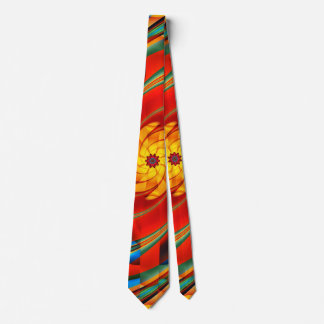 Festive Colorful Abstract Spiral Art Tie