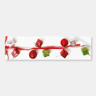 Festive Colorful Christmas Decor Ribbon Gifts Bumper Sticker