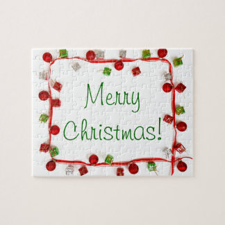 Festive Colorful Christmas Decor Ribbon Gifts Jigsaw Puzzle