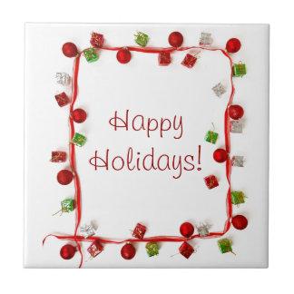 Festive Colorful Christmas Decor Ribbon Gifts Tiles