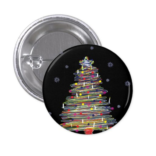 Festive Colorful Christmas Tree (Customize It!) Pinback Buttons