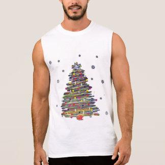 Festive Colorful Christmas Tree (Customize It!) Sleeveless Shirts
