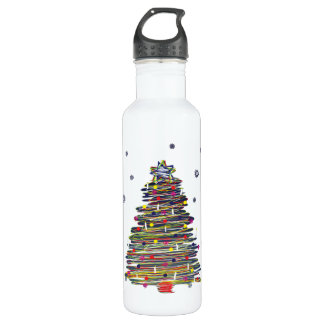 Festive Colorful Christmas Tree (Customize It!) Water Bottle