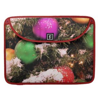 Festive Colorful Christmas Tree Ornaments MacBook Pro Sleeves