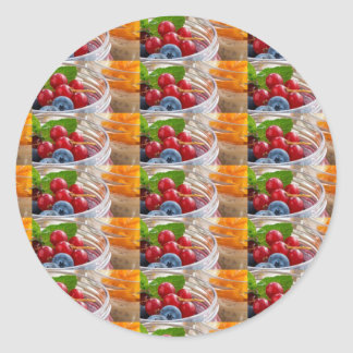 Festive colorful fruits background festivals gifts classic round sticker