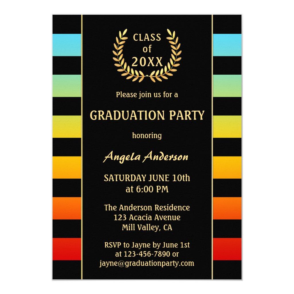 Festive Colorful Striped Graduation Invitation
